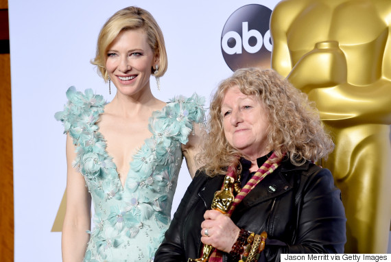 HOLLYWOOD, CA - FEBRUARY 28:  Actress Cate Blanchett (L) and costume designer Jenny Beavan, winner of Best Costume Design for 'Mad Max,' pose in the press room during the 88th Annual Academy Awards at Loews Hollywood Hotel on February 28, 2016 in Hollywood, California.  (Photo by Jason Merritt/Getty Images)